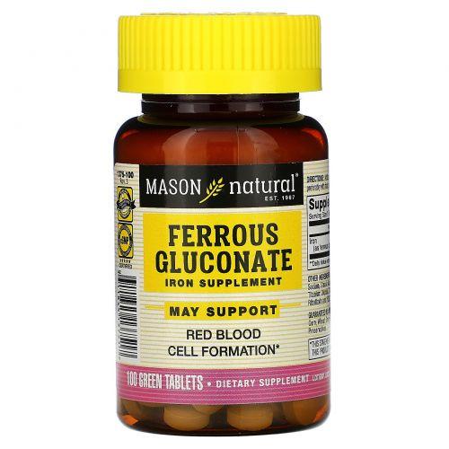 Mason Naturals, Глюконат железа, 100 таблеток