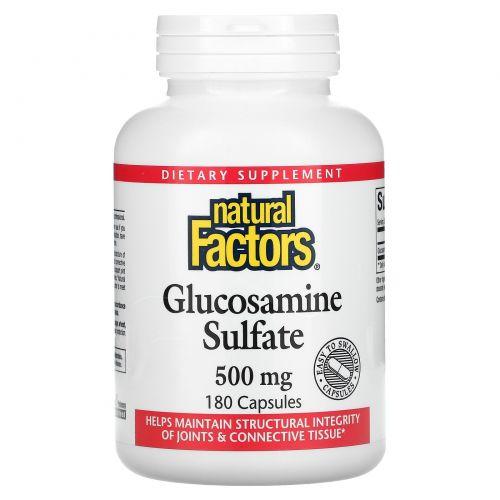 Natural Factors, Сульфат глюкозамина, 500 мг, 180 капсул