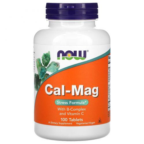 Now Foods, Комплекс кальция и магния, Средство для избавления от стресса, 100 таблеток
