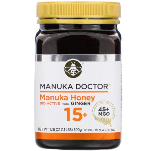 Manuka Doctor, Апитерапия, биоактивный лесной мед манука 15+ с имбирем, 1,1 фунта (500 г)