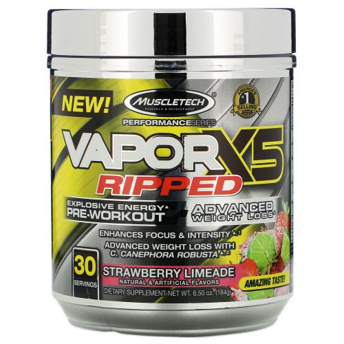 Muscletech, Performance Series, VaporX5 Ripped, Strawberry Limeade, 6.50 oz (184 g)
