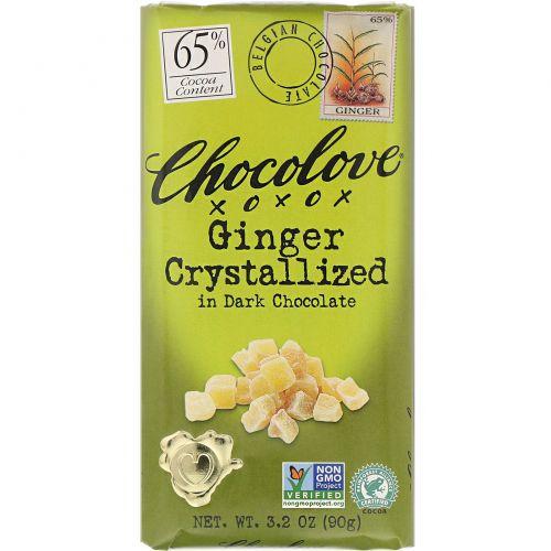 Chocolove, Кристаллы имбиря в темном шоколаде, 3.2 унции (90 г)