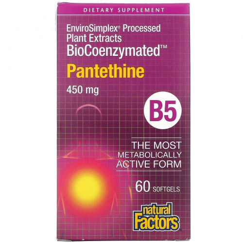 Natural Factors, BioCoenzymated, Pantethine, 450 mg, 60 Softgels