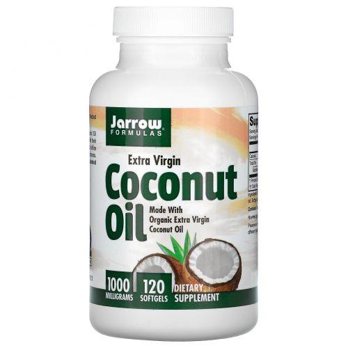 Jarrow Formulas, Кокосовое масло, холодный отжим, 1000 мг, 120 капсул