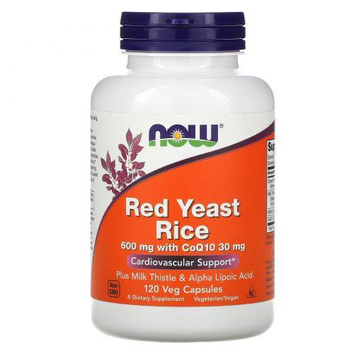 Now Foods, Красный ферментированный рис, 120 растительных капсул