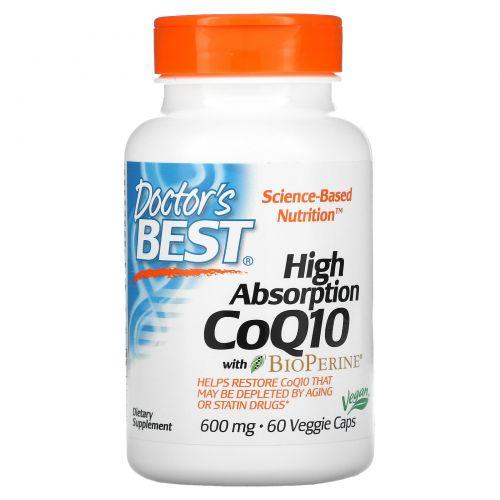 Doctor's Best, Легкоусвояемый коэнзим Q10, с биоперином, 600 мг, 60 растительных капсул