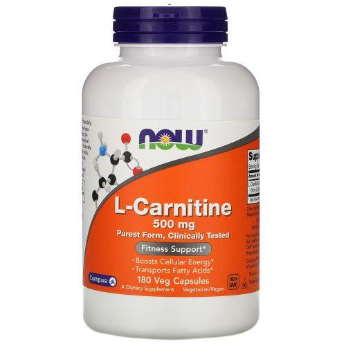 Now Foods, Левокарнитин, 500 мг, 180 вегетарианских капсул
