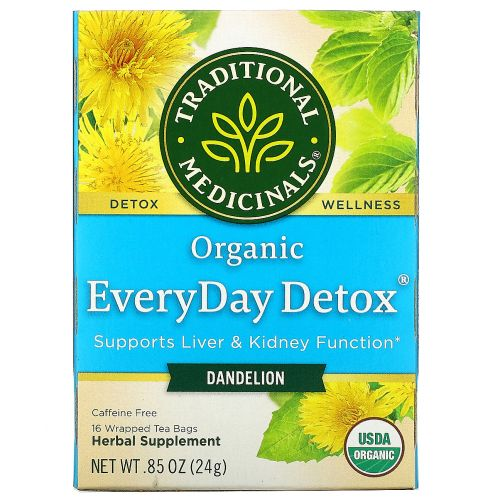 Traditional Medicinals, Organic EveryDay Detox Tea, Dandelion, 16 Wrapped Tea Bags, .05 oz (1.5 g)