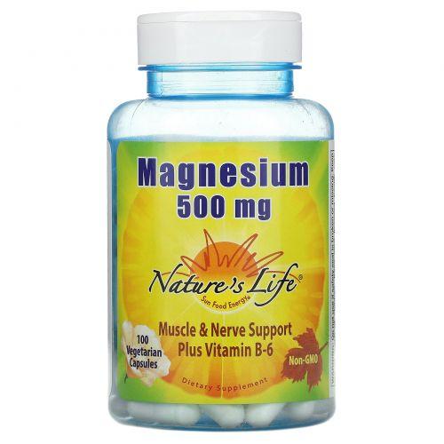 Nature's Life, Магний, 500 мг, 100 капсул