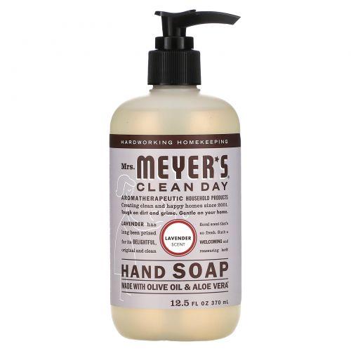 Mrs. Meyers Clean Day, Жидкое мыло для рук, с запахом лаванды, 12,5 жидких унции (370 мл)