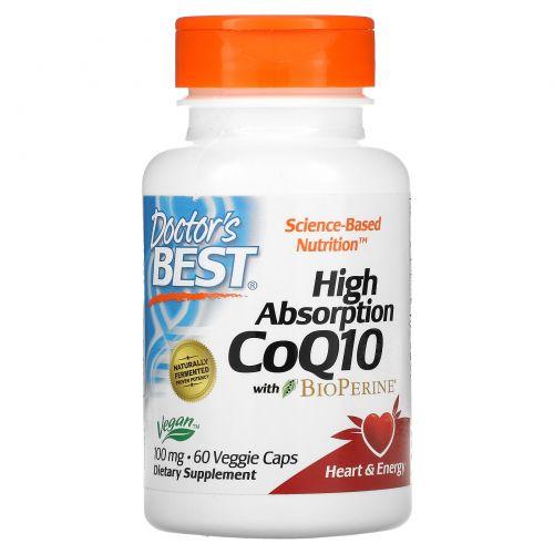Doctor's Best, Коэнзим Q10 с высокой степенью поглощения, с биоперином, 100 мг, 60 растительных капсул