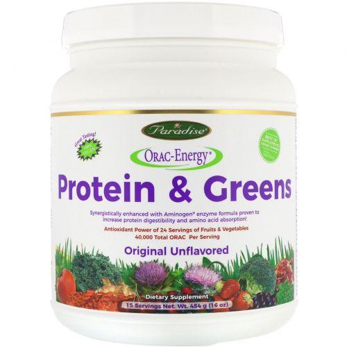 Paradise Herbs, ORAC-Energy, белок и зелень, оригинальный неароматизированный, 16 унции (454 г)