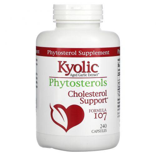 Wakunaga - Kyolic, Фитостерины выдержанного чесночного экстракта, формула поддержки холестерола 107, 240 капсул