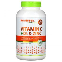 NutriBiotic, Immunity, витамины C + D3 и цинк, 250 капсул