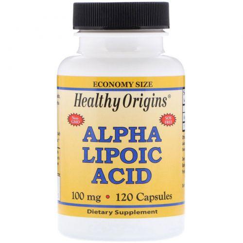 Healthy Origins, Альфа-липоевая кислота, 100 мг, 120 капсул