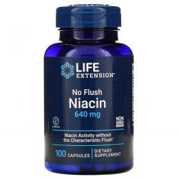 Life Extension, Ниацин, не вызывает покраснения, 800 мг, 100 капсул