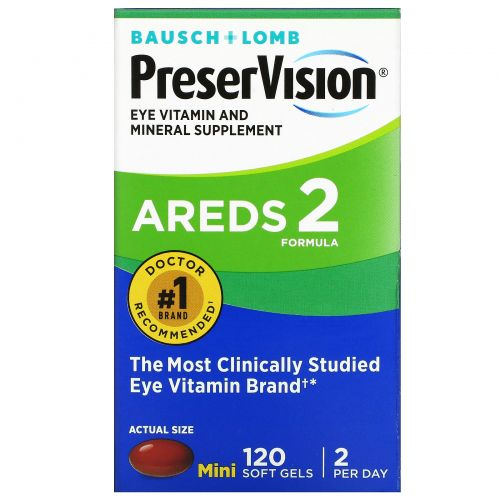 Bausch & Lomb PreserVision, AREDS 2 Formula, витамины и микроэлементы для глаз, 120 мягких капсул