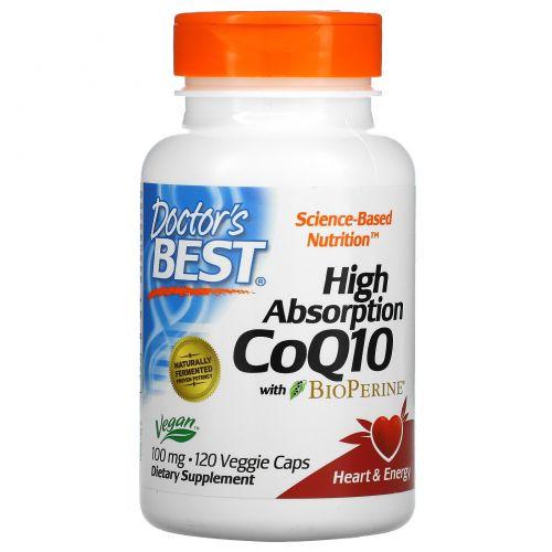 Doctor's Best, CoQ10, с BioPerine, 100 мг, 120 овощных капсул