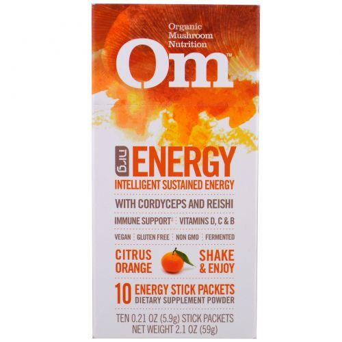 Organic Mushroom Nutrition, Энергия, грибной порошок, цитрус апельсин, 10 пакетиков, каждый 0.21 унций (5.9 г)