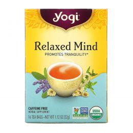 Yogi Tea, Relaxed Mind, Без кофеина, 16 чайных пакетиков, 1.12 унций (32 г)