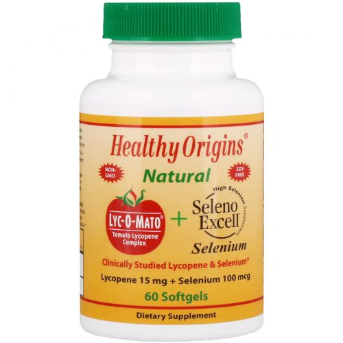 Healthy Origins, Lyc-O-Mato ликопин + селен Excell, 60 гелевых капсул