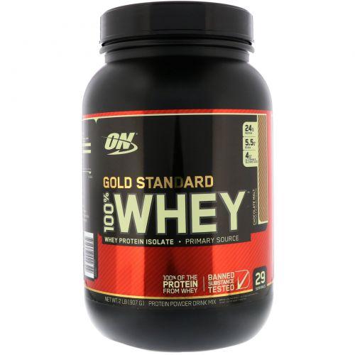 Optimum Nutrition, Gold Standard, 100% сыворотка, шоколадный солод, 2 фунта (907 г)