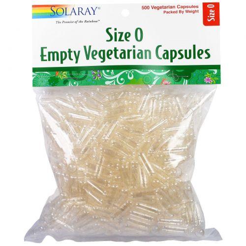 Solaray, Пустые растительные капсулы, размер 0, 500 вегетарианских капсул