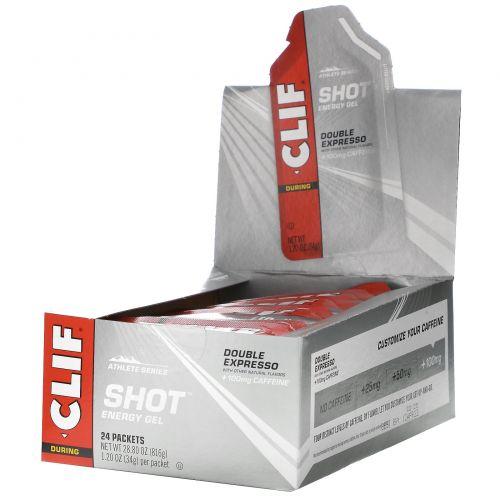 Clif Bar, Энергетический гель Shot Turbo, двойной экспрессо + кофеин, 24 пакетика, по 1,2 унции (34 г) каждый