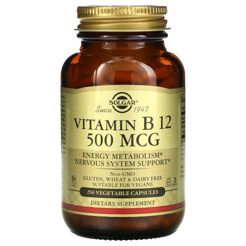 Solgar, Витамин B12, 500 мкг, 250 растительных капсул