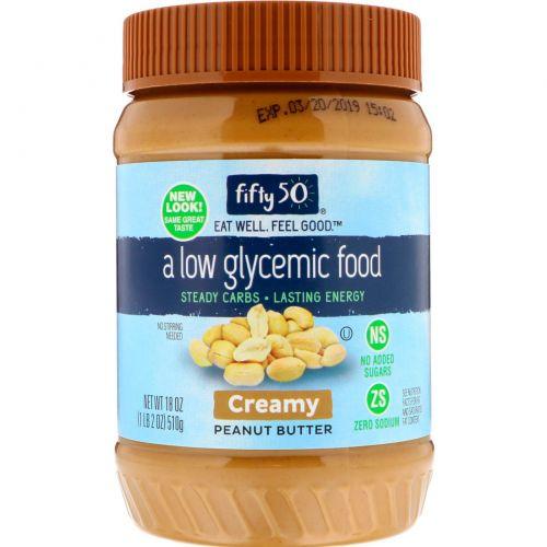 Fifty 50, Арахисовое масло с низким гликемическим индексом, кремообразное, 18 унц. (510 г)