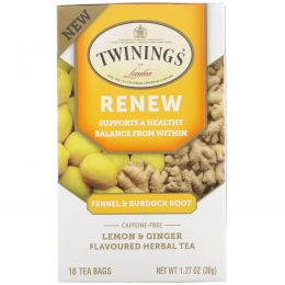 Twinings, Renew, Herbal Tea, Fennel & Burdock Root, Caffeine Free, 18 Tea Bags, 1.27 oz (36 g)