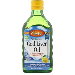 Carlson Labs, Wild Norwegian Cod Liver Oil, Natural Lemon Flavor, 8.4 fl oz (250 ml)