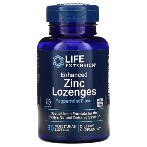 Life Extension, Цинковые вегетарианские леденцы усовершенствованной формулы, 30 шт.