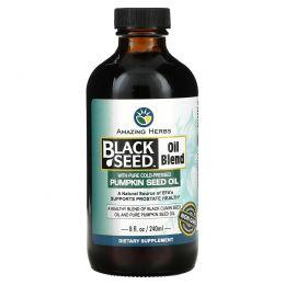 Amazing Herbs, Смесь масла черного тмина с чистым маслом тыквы холодного отжима, 8 жидк. унций (240 мл)
