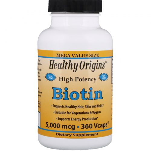 Healthy Origins, Biotin, High Potency, 5000 mcg, 360 Vcaps