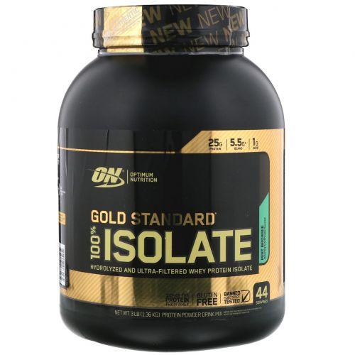 Optimum Nutrition, Gold Standard, изолят сывороточного белка 100% Isolate, мятный брауни, 1,36кг