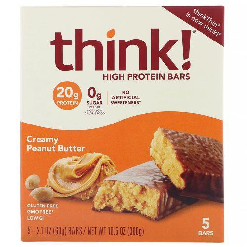 ThinkThin, Высокопротеиновые батончики, арахисовая крем-паста, 5батончиков, 60г (2,1 унции) каждый