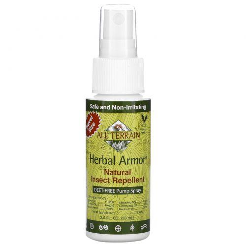 All Terrain, Herbal Armor, средство, отпугивающее насекомых, помповый спрей без ДЭТА, 2,0 жидких унции (60 мл)