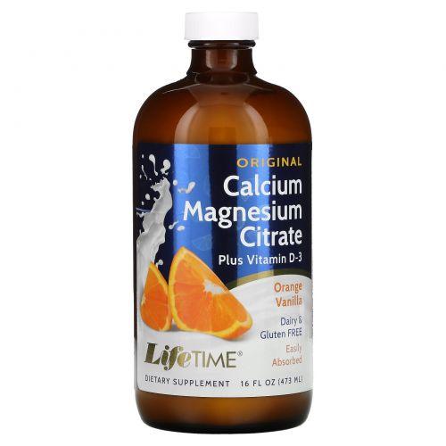 Life Time, Цитрат кальция и магния плюс витамин D3, оригинальный, со вкусом апельсина и ванили, 16 жидких унций (473 мл)