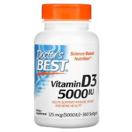 Doctor's Best, Витамин D3 (Best Vitamin D3), 5000 МЕ, 360 мягких таблеток