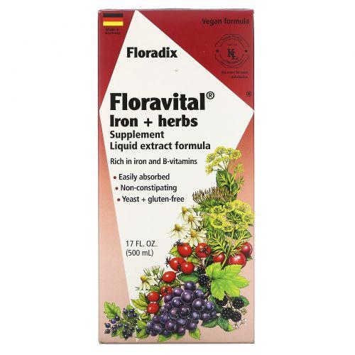 Flora, Флорадикс, флоравиталь, растительная добавка с железом, жидкий экстракт, 17 жидких унций (500 мл)