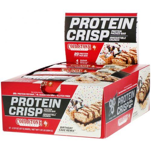 BSN, Хрустящие белковые батончики со вкусом торта ко дню рождения, 12 батончиков по 2,01 унц. (57 г)