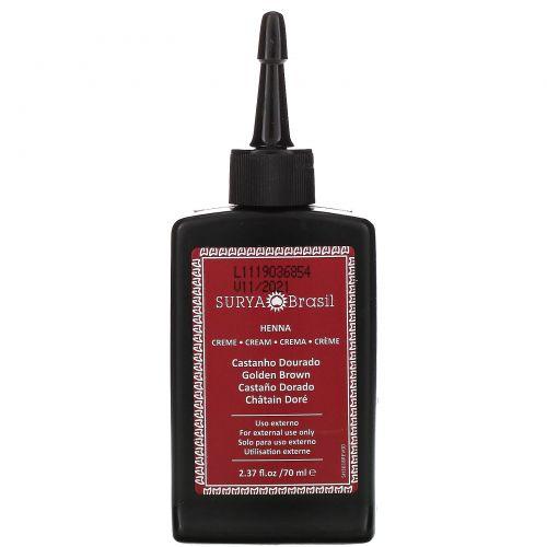 Surya Henna, Surya Henna, эффективная здоровая краска Henna Cream для седоватых волос, золотисто-каштановый, 2,37 жидких унций (70 мл)