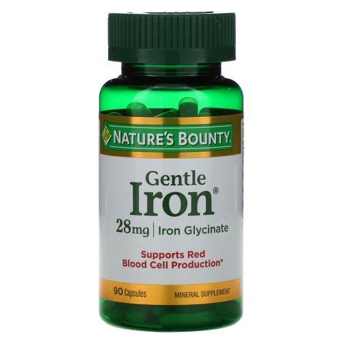 Nature's Bounty, Железо мягкого действия, 28 мг, 90 капсул