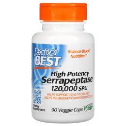 Doctor's Best, Серрапептаза с высокой эффективностью, 120000 SPU, 90 капсул в растительной оболочке