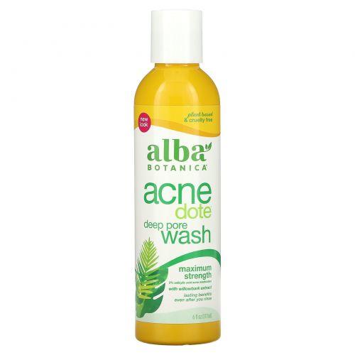 Alba Botanica, Средство от акне, глубокое очищение пор, не содержит масла, 6 ж. унц. (177 мл)
