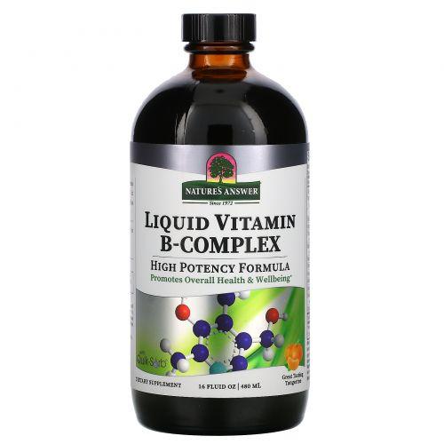 Nature's Answer, Комплекс жидких витаминов группы В с натуральным мандариновым вкусом, 16 жидких унции (480 мл)