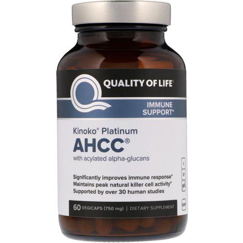 Quality of Life Labs, Kinoko Platinum AHCC, Immune Support, 750 mg, 60 Veggie Caps