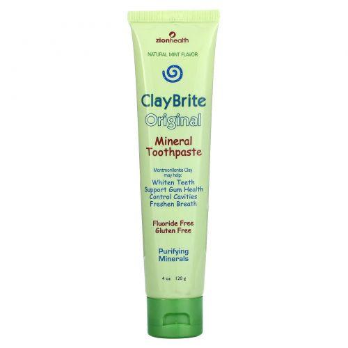 Zion Health, ClayBrite, Натуральная зубная паста, натуральная мята, 3,2 унции (92 г)
