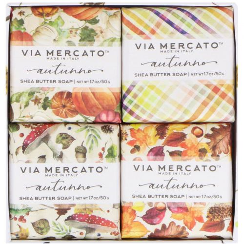 European Soaps, LLC, Via Mercato, Autumno, набор мыла с маслом ши, 4 вида мыла, 50 г каждый